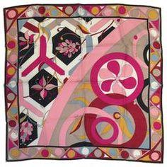 Emilio Pucci Abstract Print 100% Silk Twill Scarf