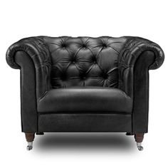 Leather chesterfield club chair also in bespoke colours. Black leather chair for any home, perfect with modern living room furniture. Modern armchair with free UK delivery! Black Leather Armchair, Brown Leather Furniture, Best Leather Sofa, Leather Club Chairs, Leather Armchairs, Black Furniture, Office Furniture, Chesterfield Armchair, Leather Chesterfield