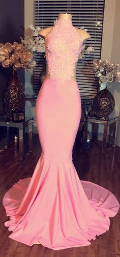 2017 Pink Mermaid Prom Dresses High Neck Sleeveless Elegant Evening Gowns