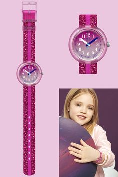 Take a step into the future with PINK SPARKLE a glamorous analogue wrist watch for kids in pink that gives the gift of time. It features a stunning strap with glittering metallic thread, and a digital printed dial beneath the transparent plastic case. Gift Of Time, Metallic Thread, Plastic Case, Swatch, Sparkle, Future, Printed, Digital, Pink