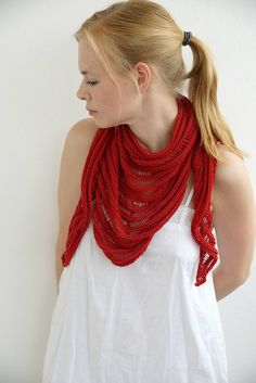 Handmade knitted women shawl scarf cotton red summer by SockClub
