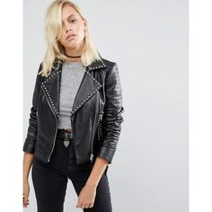 ASOS Leather Biker Jacket with Stud Detail (€185) ❤ liked on Polyvore featuring outerwear, jackets, black, quilted jacket, leather moto jackets, quilted moto jacket, leather jackets and studded biker jacket