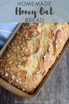 Homemade Honey Oat Bread that is not only incredibly delicious, but is also really easy to make. Get started with making your own homemade bread with a sweet honey bread. Quick Bread Recipes, Honey Recipes, Fudge Recipes, Baking Recipes, Healthy Homemade Bread, Easy Homemade Bread Recipes, Healthy Breads, Breakfast Bread Recipes, Dutch Oven Recipes