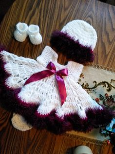 White crochet baby dress with purple fur yarn by BabyBeautiful801