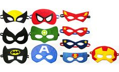 3 felt Superhero Masks party pack for kids  YOU by FeltFamily, $39.00