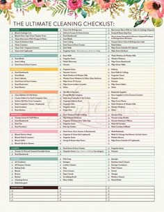 The Ultimate House Cleaning Checklist Printable PDF Home Management Housekeeper Maid Service Chore List Spring Deep Cleaning Honey-Do Deep Cleaning Tips, Cleaning Solutions, Cleaning Hacks, Diy Hacks, Cleaning Recipes, Cleaning Products, Cleaning Supplies, Cleaning Checklist Printable, House Cleaning Checklist