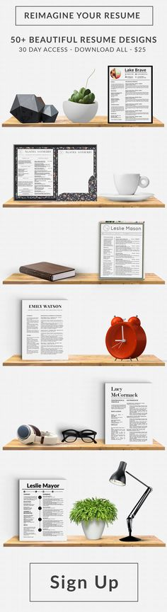 Modern Resume Template for MS Word Self Help Pinterest Shops - resume sign up