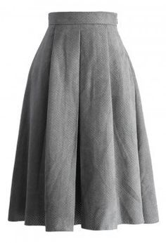 Eyelet Full A-line Suede Skirt in Grey - Bottoms - Retro, Indie and Unique Fashion
