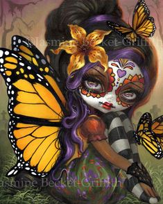 Sweet Isabella art print by Jasmine Becket-Griffith day of the dead sugar skull dia de los muertos monarch butterfly fairy Jasmine Becket Griffith, La Muerte Tattoo, Sugar Skull Artwork, Sugar Skulls, Candy Skulls, Los Muertos Tattoo, Image Beautiful, Butterfly Fairy, Monarch Butterfly