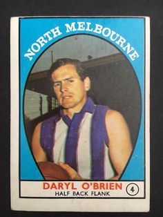 1968 Scanlens #4 Daryl O'Brien North Melbourne Kangaroos AFL Card - AUD 0.99. Winner will receive the card pictured Happy to combine postage for all cards won: $2 postage for up to 7 cards $3 postage for 8 or more cards Thanks and good luck bidding ! 173125070986