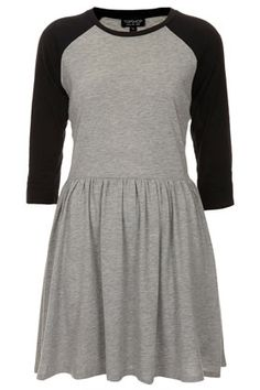 Check out this cute Topshop skater dress in grey marl with black contrasting raglan
