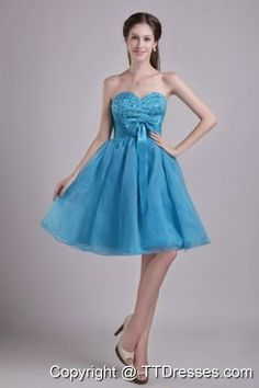 Teal Sweetheart Beading and Bow Short Prom Graduation Dress