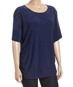 Another great find on #zulily! Navy Embellished Scoop Neck Tee - Plus #zulilyfinds