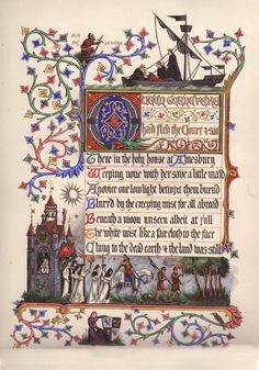 """The Song of Queen Guenevere. Illuminated manuscript by Alberto & Francis Sangorski, ca. 1908. This is one of 8 illuminations taken from the historical poem by Alfred Lord Tennyson, """"Extracts from Idylls of the Kings"""" (Tennyson's version of the Arthurian legend)."""