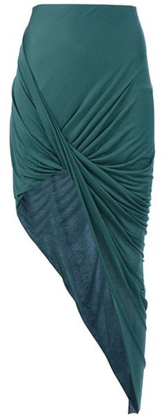 Helmut Lang Drape Skirt in Green