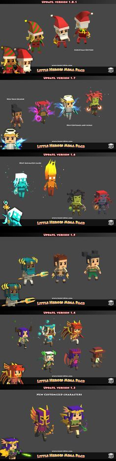 Low poly, cartoony characters.