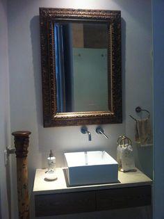 bathroom gold shine mirror keep it classy!