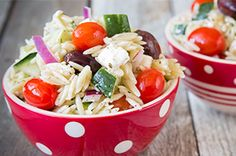 Make a creative pasta salad with our Greek Orzo Salad recipe! Cucumbers, olives and crumbled feta help give Greek Orzo Salad its Greek-style appeal.