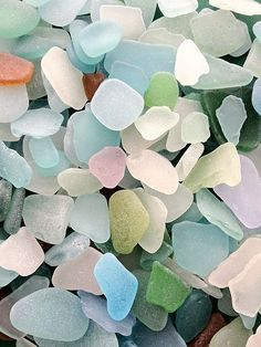 Sea glass colors. All my visits to the beaches in Delaware I have yet to find any sea glass :(
