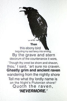 5x7 Letterpress Edger Allen Poe The Raven by FossilLetterpress, $25.00