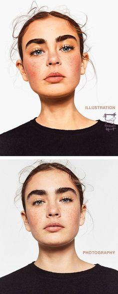 """Cute Model Study"" - Ameur Makhloufi {figurative realism art beautiful female head eyebrows character woman face portrait digital painting}"