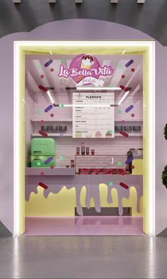 Cute interior design for ice cream shop in children's style and toy decor #interiordesignforkids #icecreamshopinterior #cuteideas Retail Interior Design, Interior Design Companies, Interior Photo, Best Interior Design, Pop Bottles, Diy Storage, Design Agency, Coffee Shop, Vanity