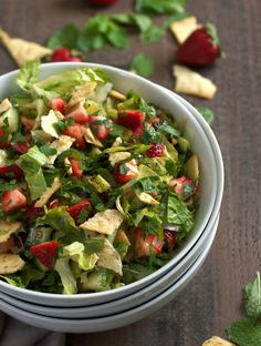 Ripe, juicy berries replace traditional tomatoes in this strawberry fattoush salad with crushed pita chips. Pomegranate Molasses, Pomegranate Juice, Persian Salad, Lower Carb Meals, Toasted Sesame Seeds, English Cucumber, Food Inspiration, Salad Recipes, Salads