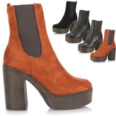 New ladies women high chunky #block heel #platform chelsea #ankle 70s boots shoes,  View more on the LINK: 	http://www.zeppy.io/product/gb/2/141814712064/
