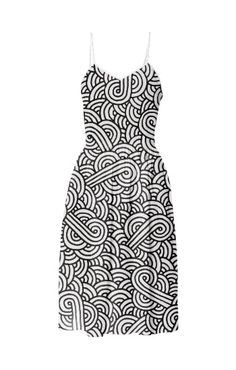 Black and white swirls doodles Summer Dress by @savousepate on @printalloverme