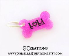 Small Bone Dog Tag Hot Pink Glitter  Mini by GabriellesCreations #handmade #personalized #dogtag