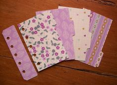MINI Size Laminated Dividers - 'Purple & Cream' #636 - Fits FILOFAX