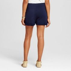 Women's Drawstring Waist Shorts Navy XL - K by Kersh, Blue