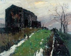 Moorland Farm, a March Evening by Herbert Whone   The Hepworth Wakefield Date painted: 1968 Oil on canvas, 82.8 x 102 cm Collection: The Hepworth Wakefield