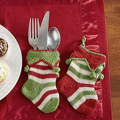 Knitting Pattern For Christmas Cutlery Holder : Holiday Silverware holders - christmas silverware stockings by Littlewhitebou...
