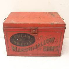 Antique Large Store Display Litho Tin Advertising Marshmallows Dated 1906,Candy
