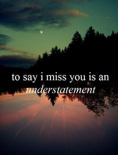 To say I miss you is an understatement. Picture Quotes.