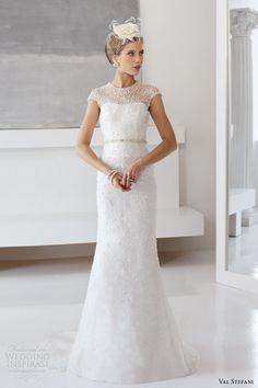 val stefani fall 2013 bridal cap sleeve sequin sheath wedding dress d8043