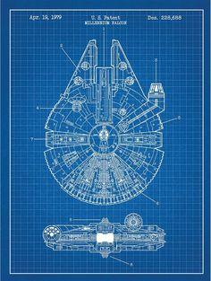 Star Wars Millennium Falcon Screen Print Patent Art - Force Awakens Battlefront X-wing Death Star Darth vader Han solo lightsaber Millennium Falcon, Star Wars Ships, Star Wars Art, Star Wars Desenho, Posters Geek, Art Posters, Anniversaire Star Wars, Nave Star Wars, Star Wars Prints