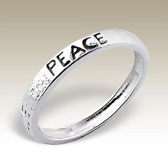Silver ring with word PEACE - Finishing: Sterling silver+E-coat 925 Sterling silver Design from Bangkok925.com  Dimensions:  	0.00  nice Plain Silver Rings at $4.77