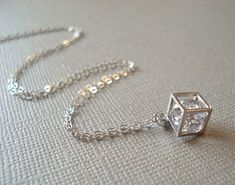 $26.00 Silver Cube Necklace Cubic Zirconia Pendant by dustybluerose99