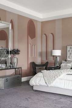 Bedroom Wallpaper, Wallpaper Ideas, Scandinavian Bedroom, Bedroom Vintage, Wall Colors, Terracotta, Wall Murals, Minimalist, Architecture