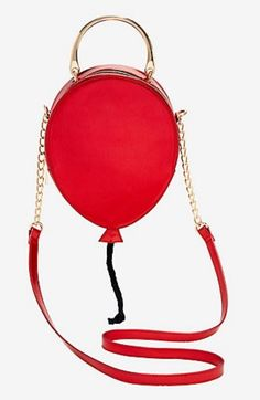Who doesn't love a red balloon? This crossbody may not float, but it sure makes for a cute accessory. Gold hardware and a black rope balloon string. *Polyurethane x 2 x Brand new, packaging open for inspection only. Red Balloon, Balloons, Novelty Bags, Black Rope, Gold Hardware, Saddle Bags, Crossbody Bag, Clip Art, Shapes