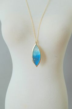 Ice Cavern Leaf Drop Necklace-Blue  Amazing! Love this. Put it on my vision board