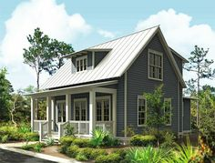 Coastal Home Plans - Pearce's Cottage Small Farmhouse Plans, Small Cottage House Plans, Small Cottage Homes, Small Cottages, Cottage Plan, Modern Cottage, Small Houses, Farmhouse Style, Lake Cottage