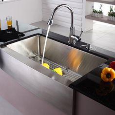 "Kraus 35.88"" x 16"" Farmhouse Kitchen Sink with Faucet and Soap Dispenser   Wayfair"
