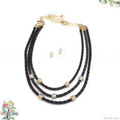 Collar Negro de zcuero Trenzado con Dorado. #oparina #necklace #collar  #madewithstudio