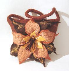 Felted handbag medium - Brown Yellow Flower♡