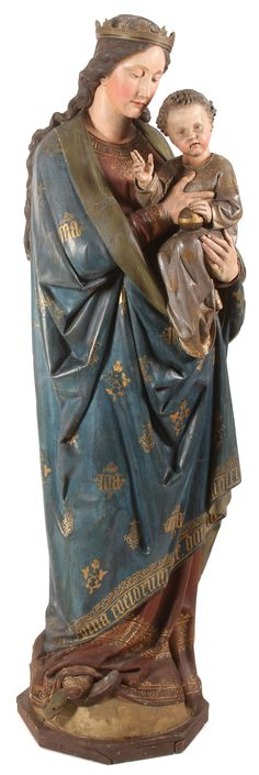 LIFE-SIZE CARVED AND POLYCHROME WOOD FIGURAL GROUPING OF THE MADONNA AND CHILD, ANTON JOSEF REISS (GERMAN 1835-1900).