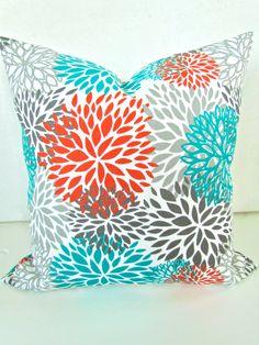 THROW PILLOWS 18x18 Orange Teal Throw Pillow Covers 18 x 18 Aqua Turquoise Gray Decorative Throw pillows Indoor Outdoor. $18.95, via Etsy.
