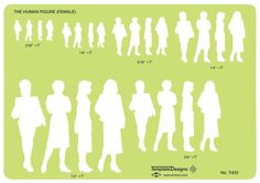 "Human Figure Drawing Female Human Figure Template: Size 5 x 8 x - Contains six sizes of standing female figures in silhouette.* Four positions.* Scales from to ½"" = Size: x x scale is - = video:Specifications:Scale: - = 1 Drawing Poses, Drawing Tips, Figure Drawing Female, Drawing Templates, Drawing Letters, Environment Design, Learn To Draw, Body Shapes, Human Body"